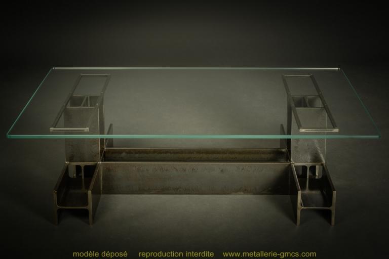 table basse type H vue d'ensemble