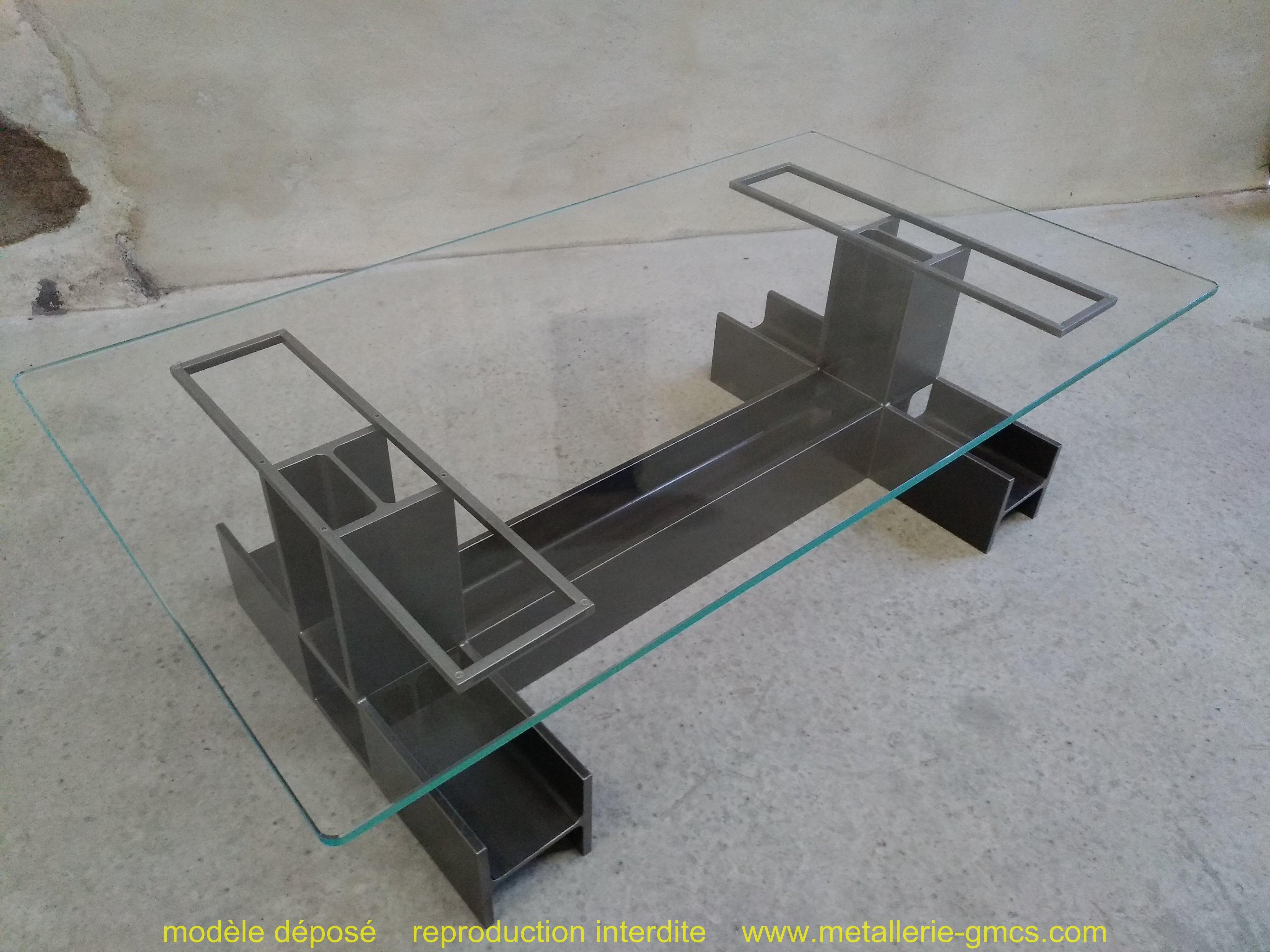 table basse type H vue avec vitrage