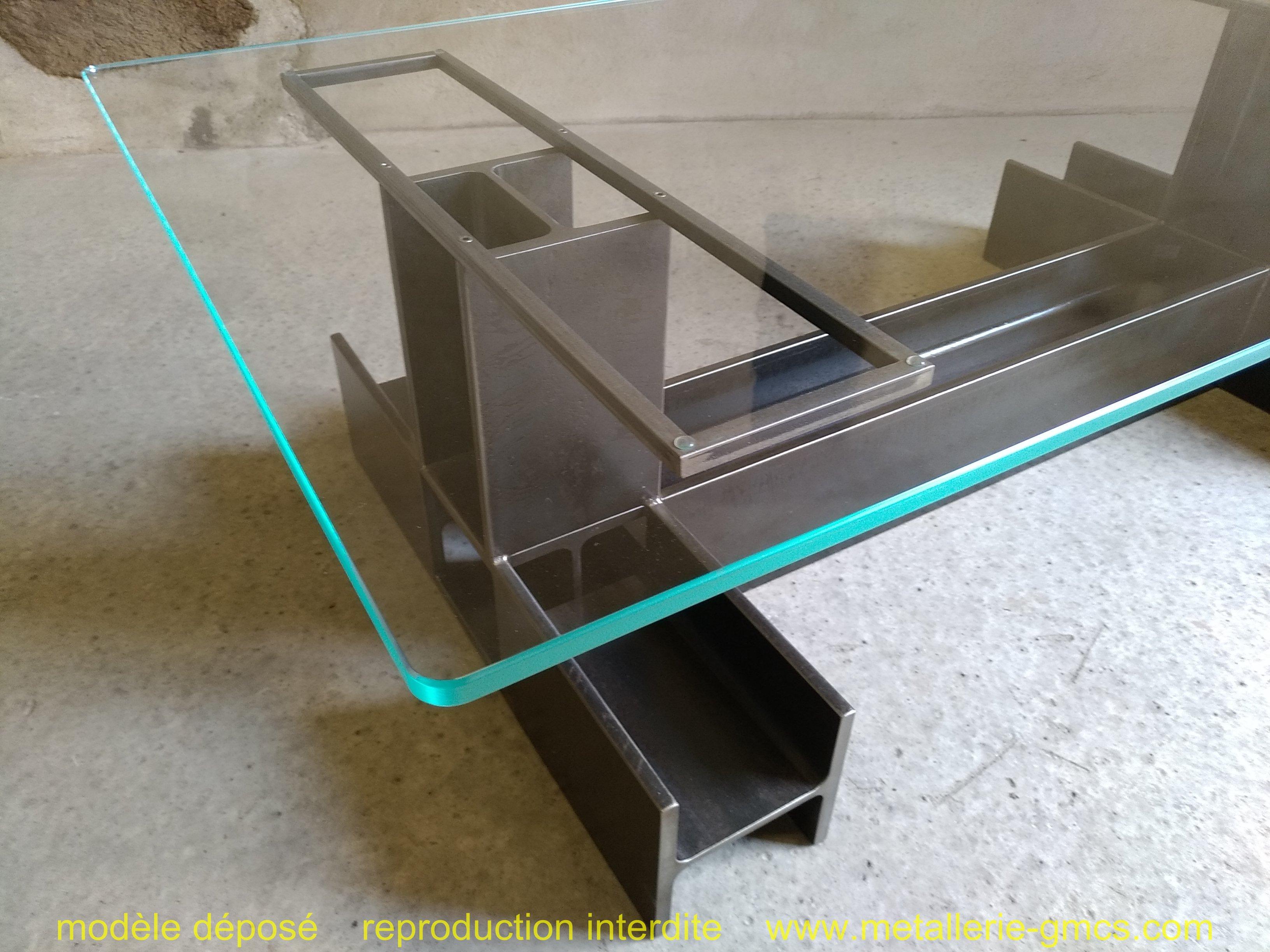 table basse type H vue avec vitrage détail