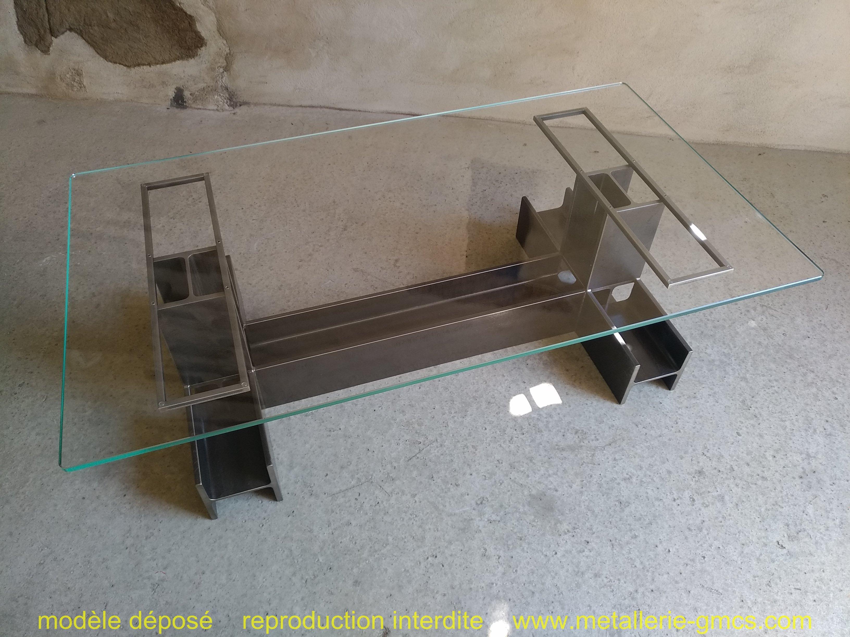 table basse type H vue avec vitrage ensemble